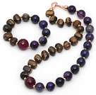 Assorted Tiger Eye and Purple Agate Set ( Necklace and Matched Bracelet )