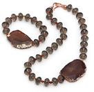 Brown Series Smoky Quartz and Agate Slice Set ( Necklace and Matched Bracelet )