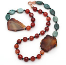 Wholesale Green Dragon Blood Stone and Faceted Carnelian and Agate Slice Set ( Necklace and Matched Bracelet )