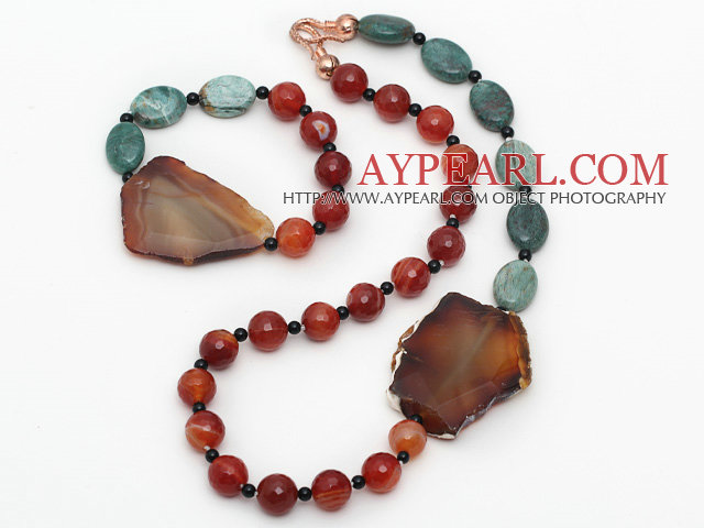 Green Dragon Blood Stone and Faceted Carnelian and Agate