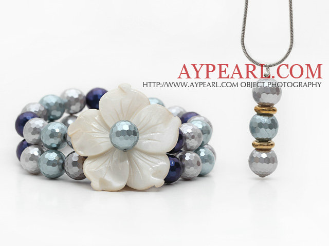 Gray Series Faceted Seashell and Shell Flower Set ( Pendant Necklace and Matched Bracelet )