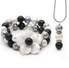 Gray and Black and White Faceted Seashell and Shell Flower Set ( Pendant Necklace and Matched Bracelet )