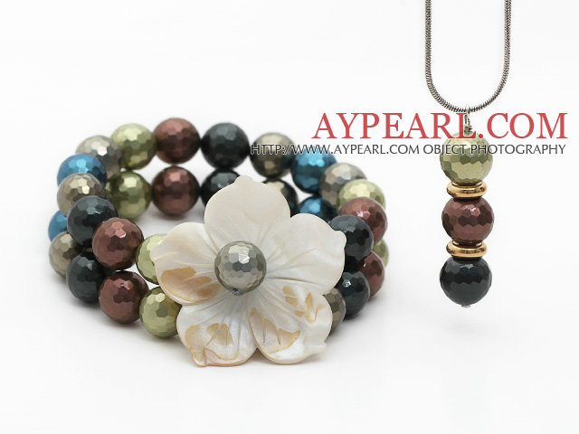 Multi Color Faceted Seashell and Shell Flower Set ( Pendant Necklace and Matched Bracelet )