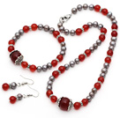 Gray Freshwater Pearl and A Grade Carnelian Set ( Necklace Bracelet and Matched Earrings )
