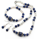 White Freshwater Pearl and Lapis Set ( Necklace Bracelet and Matched Earrings )
