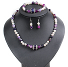 White Freshwater Pearl and Purple Agate Set ( Necklace Bracelet and Matched Earrings )
