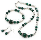 White Freshwater Pearl and Green Agate Set ( Necklace Bracelet and Matched Earrings )