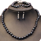 Graceful Mother Gift 8-9mm Natural Black Freshwater Pearl Jewelry Set (Necklace, Bracelet & Earrings)
