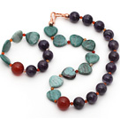 Amethyst and Carnelian and Heart Shape Green Dragon Blood Stone Set ( Necklace and Matched Bracelet )