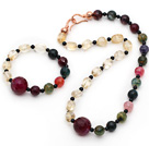 Wholesale Assorted Citrine and Black Agate and Pink Agate Set ( Necklace and Matched Bracelet )