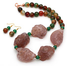 Wholesale Natural Pink Agate and Peacock Agate Chunky Set ( Necklace and Matched Earrings )