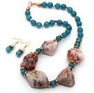 Irregular Shape Crazy Agate and Cyanite and Moonstone Set ( Necklace and Matched Earrings )