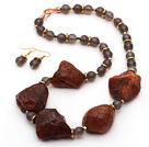 Wholesale Gray Agate and Original Carnelian Stone Set ( Necklace and Matched Earrings )