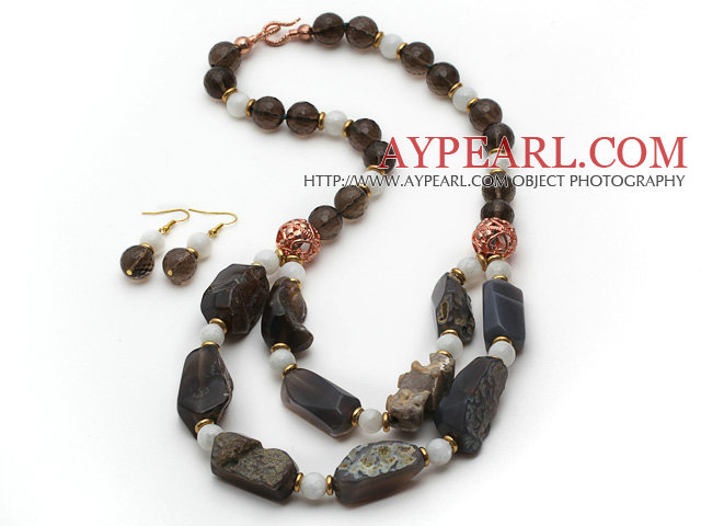 Brown Series Smoky Quartz and Moonstone and Original Gray Agate Stone Set ( Necklace and Matched Earrings )