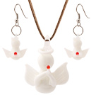 Fashion White Ceramic Christmas/Xmas Angel Sets (Necklace With Matched Earrings)