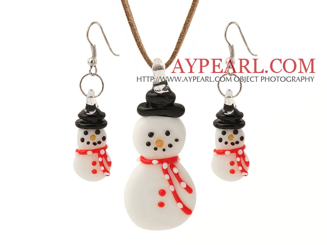 Wonderful Ceramic Christmas/Xmas Snow Pendant Necklace With Matched Earrings Sets