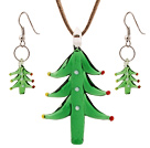 Nice Green Colored Glaze Christmas/Xmas Tree Pendant Necklace With Matched Earrings Sets