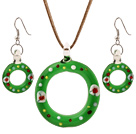 Nice Green Colored Glaze Christmas/Xmas Swim Ring Pendant Necklace With Matched Earrings Sets