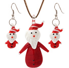 Nice Ceramic Christmas/Xmas Father Pendant Necklace With Matched Earrings Sets