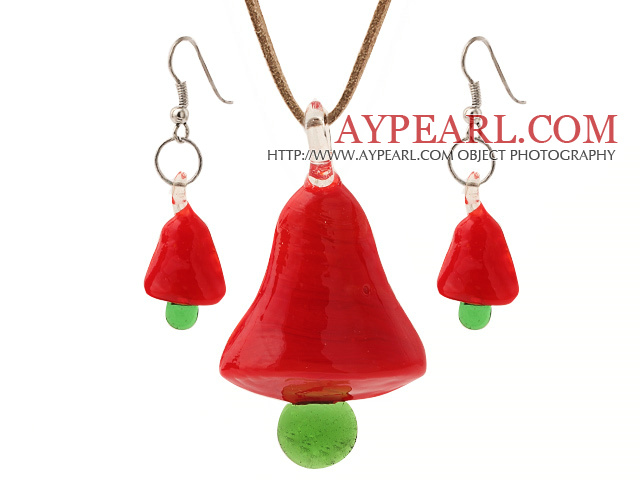 Fashion Red Ceramic Christmas/Xmas Tree Pendant Necklace With Matched Earrings Sets