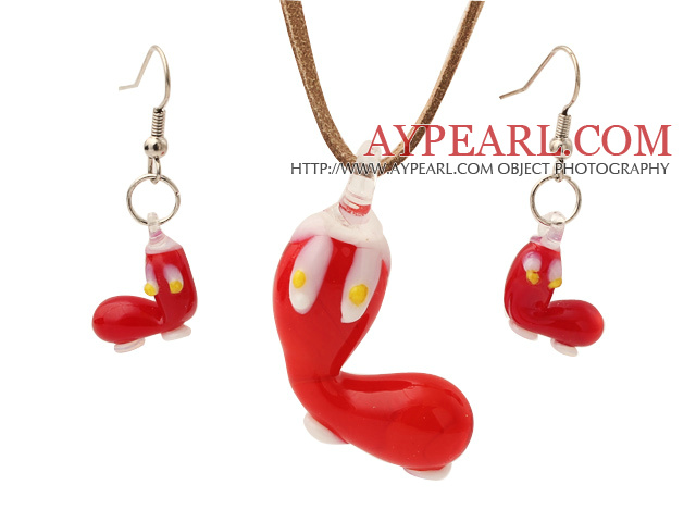Fashion Red Ceramic Christmas/Xmas Shoes Pendant Necklace With Matched Earrings Sets