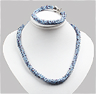 Classic Sparkly Blue Jade-Like Crystal Necklace With Matched Bracelet Set