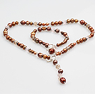 Chic Y Shape Natural Bronze Color Pearl Necklace Bracelet Set With Toggle Clasp