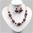 Vintage Style Natural Pink Pearl Crystal And Colored Glaze Necklace And Earrings Set