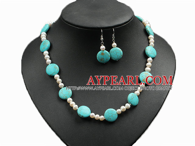Fashion Simple Natural Freshwater Pearl And Oblate Turquoise Necklace And Earrings Set