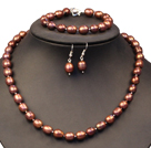 Graceful Mother Gift 8-9mm Natural Brown Rice Pearl Jewelry Set (Necklace, Bracelet & Earrings)