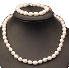 Beautiful Elegant Best Gift 8-9mm Natural White Rice Pearl Jewelry Set (Necklace & Bracelet)