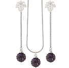 Fashion Polymer Clay Purple Rhinestone Ball Pendant Necklace And Elegant Leaf Studs Earrings Sets
