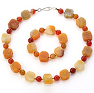 Fashion Yellow Series Irregular And Round Agate Beaded Jewelry Sets (Necklace With Matched Bracelet)