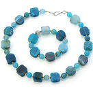 Fashion Blue Series Irregular And Round Agate Beaded Jewelry Sets (Necklace With Matched Bracelet)
