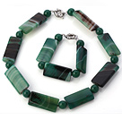 Fashion Round And Rectangle Shape Green Agate Beaded Jewelry Sets (Necklace With Matched Bracelet)