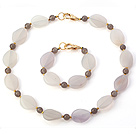Nice Irregular White And Round Gray Agate Beaded Jewelry Sets (Necklace With Matched Bracelet)