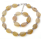 Nice Yellow Irregular Agate And Gray Crystal Beaded Jewelry Sets (Necklace With Matched Bracelet)