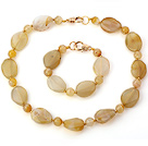 Nice Yellow Irregular And Round Agate Beaded Jewelry Sets (Necklace With Matched Bracelet)