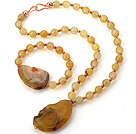 Fashion Round And Irregular Yellow Agate Beaded Pendant Necklace And Stretch Bracelet Sets