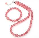Wholesale Fashion Round Pure Cherry Quartz Beaded Necklace With Matched Elastic Bracelet Jewelry Set