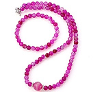Nice Round Pink Banded Agate Beads Necklace With Matched Elastic Bracelet Jewelry Set
