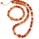 Nice Round A Grade Natural Color Agate Beaded Necklace With Matched Elastic Bracelet Jewelry Set