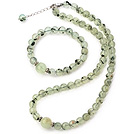 Nice Natural Round Prehnite Beaded Necklace With Matched Elastic Bracelet Jewelry Set