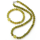 Nice Natural Round South Korea Jade Beaded Necklace With Matched Elastic Bracelet Jewelry Set