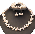 Beautiful Elegant Best Gift 8-9mm Natural White Freshwater Slant-hole Pearl Jewelry Set (Necklace, Bracelet & Earrings)