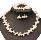Beautiful Elegant Best Gift 8-9mm Natural White Freshwater Slant-hole Pearl Jewelry Set (Necklace, Bracelet & Earrings)