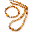 Nice Natural Round Yellow Jade Beaded Necklace With Matched Elastic Bracelet Jewelry Set