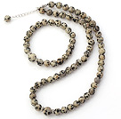 Nice Natural Round Black Spot Stone Beaded Necklace With Matched Elastic Bracelet Jewelry Set