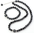 Fashion Natural Round Snowflake Stone Beaded Necklace With Matched Elastic Bracelet Jewelry Set