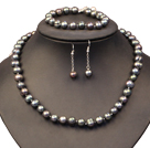 Graceful Mother Gift 9-10mm Natural Gray Black Freshwater Pearl Jewelry Set (Necklace, Bracelet & Earrings)